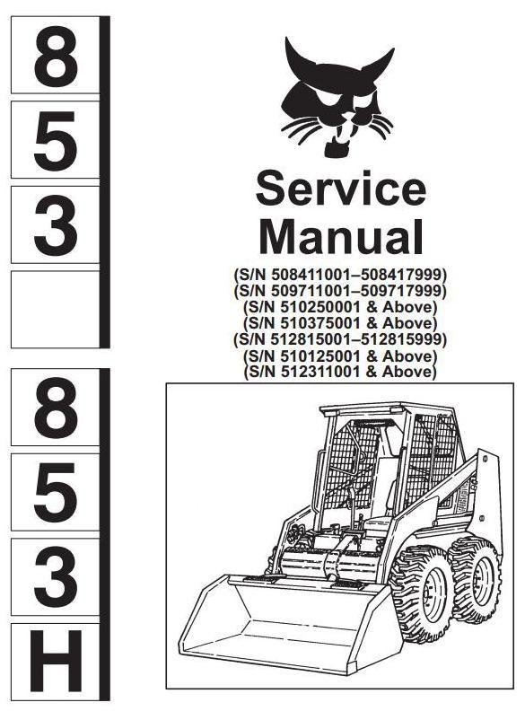 Bobcat Skid Steer Loader Type 853 853h Workshop Service Manual Rhpinterestch: Wiring Diagram For Bobcat 853 At Gmaili.net