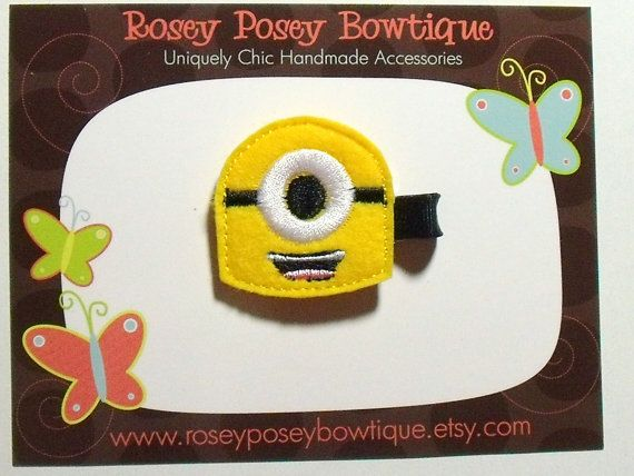RPB Despicable Me Inspired Minion Girls Felt Hair Clip - Great as birthday party favors