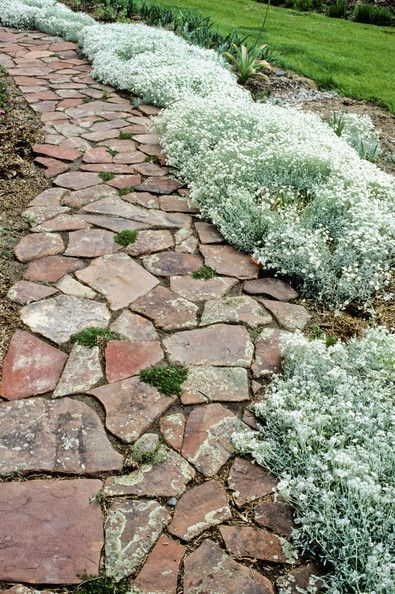 country landscaping use small flagstone pavers for walkway