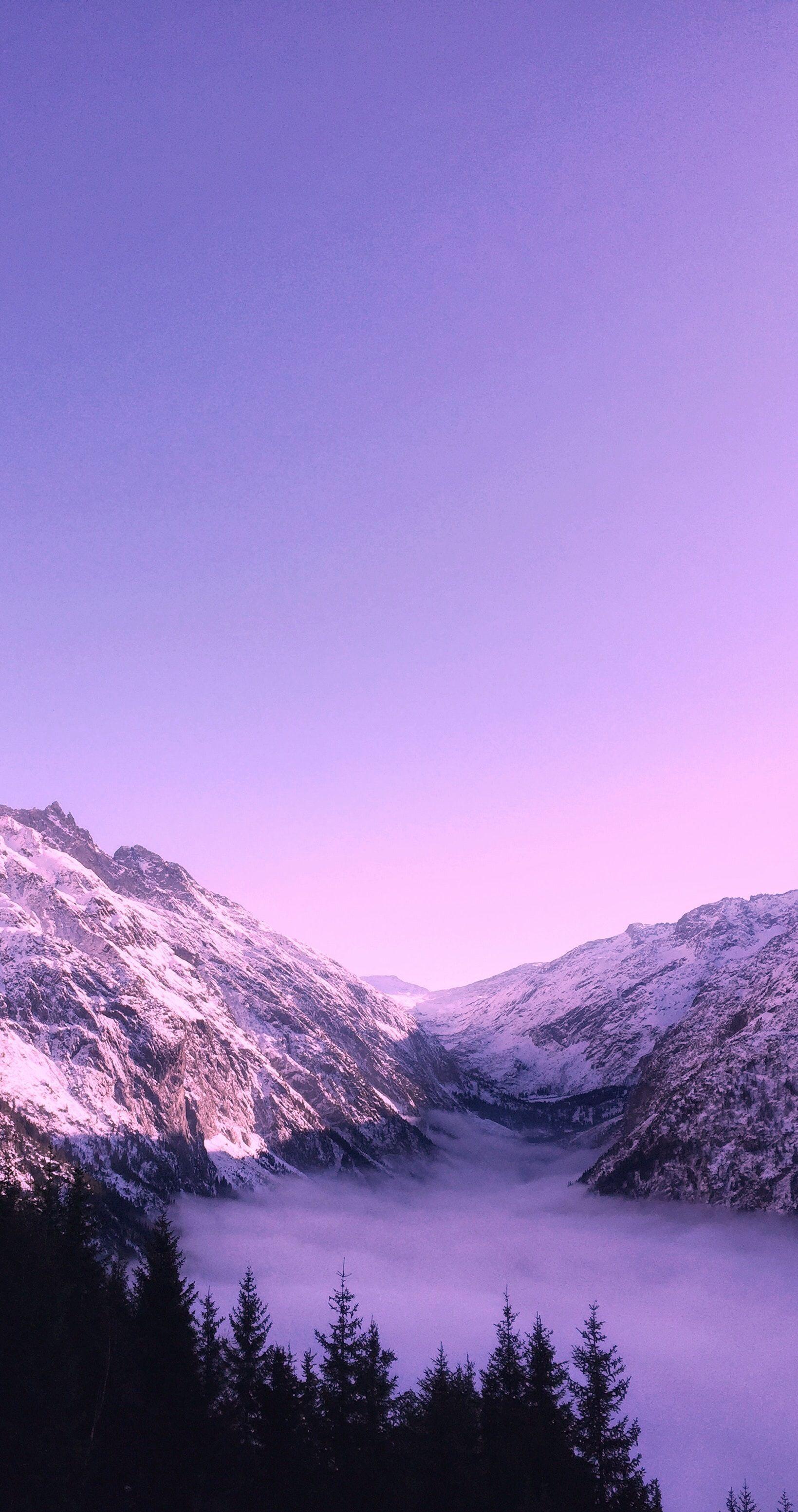 Beautiful Landscape With Purple Mountain Majesty Purple Purpleaesthetic Dusk Landscape Photography Purple Wallpaper Phone Wallpaper