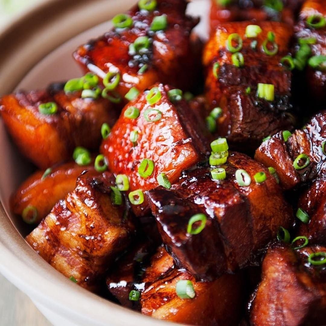 Chinese redcooked pork garnished with green onion 1080