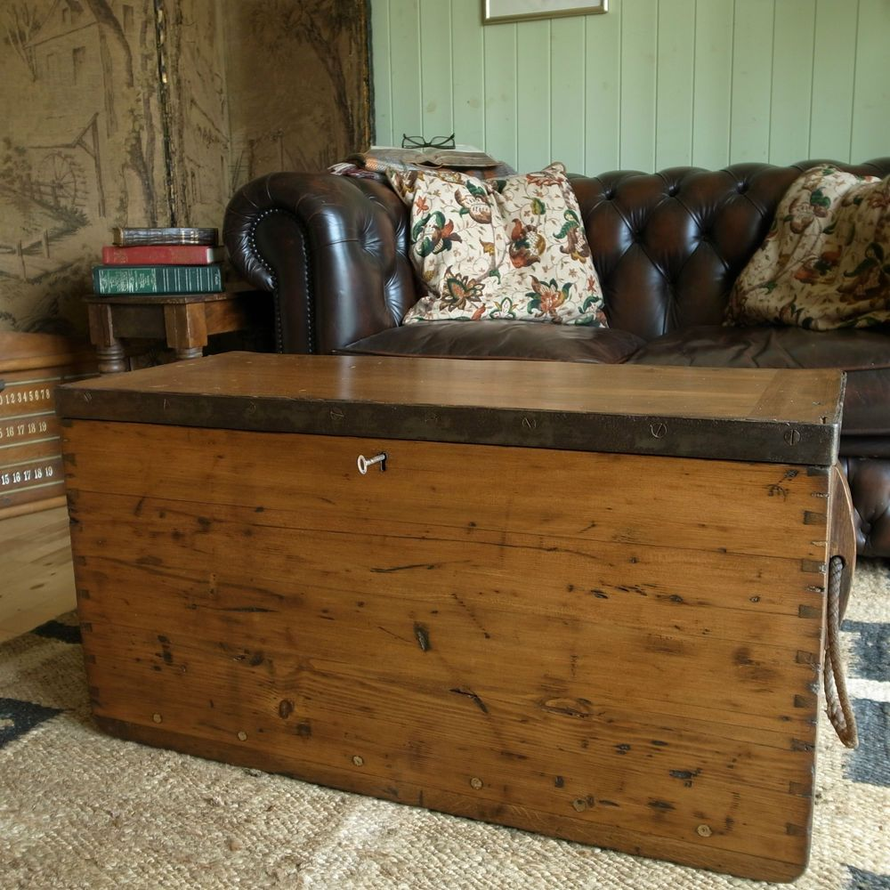 Antique Military Chest Coffee Table Victorian War Chest Industrial Storage Trunk Vintage