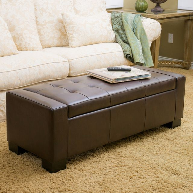 Rothwell Brown Leather Storage Ottoman Bench Contemporary Ottomans And Cubes