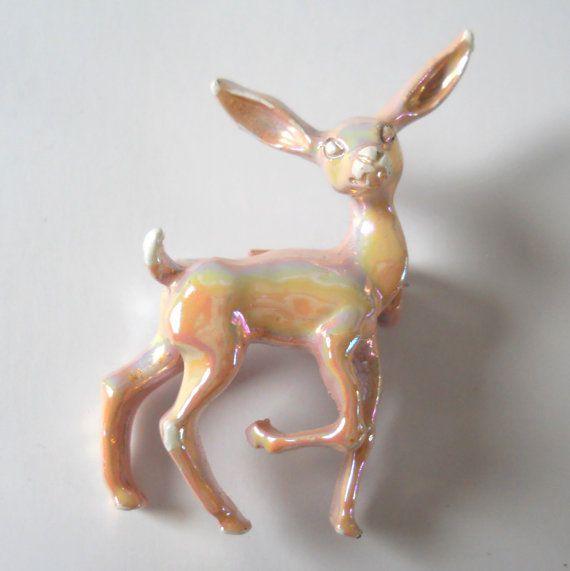 Vintage Deer Brooch  Vintage Animal Deer Pin  by HazeyJaneVintage