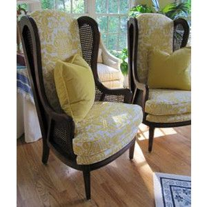 Beautiful Cane Sided French Country Wingback Chairs In Buttercup Gold Damask    Totally Refurbished