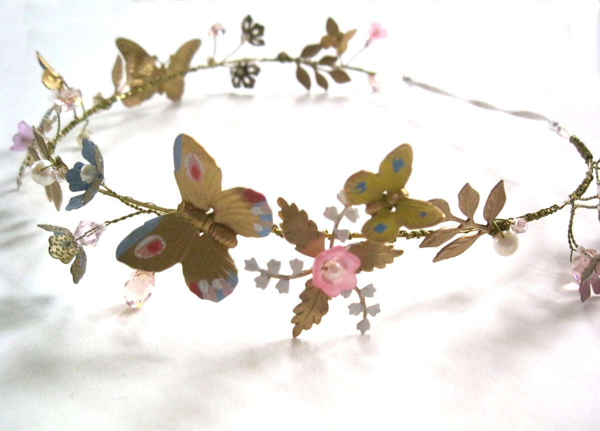 Butterfly hair accessories for weddings uk - Ella Halo Headband Tiara Crown Butterfly Flower Wedding Bride Blue Pink Yellow Cinderella By Icing101 On