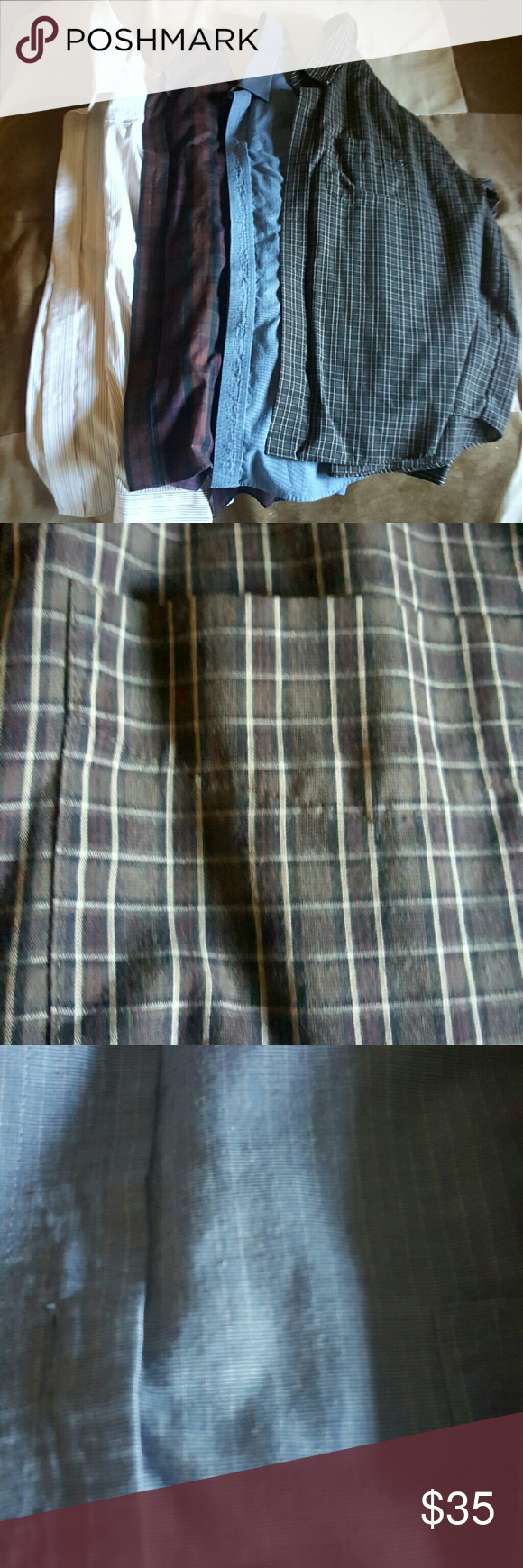 4 mens dress shirts. Size 17.5 neck 34-35 sleeves. All like new.  Long sleeves various Shirts Dress Shirts