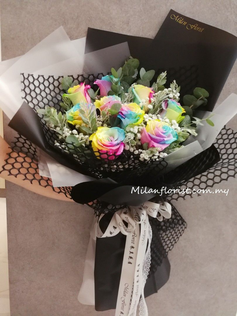 Photo of Rainbow Rose-Milan Florist- Rainbow Rose 彩虹玫瑰 – Milan Floris…
