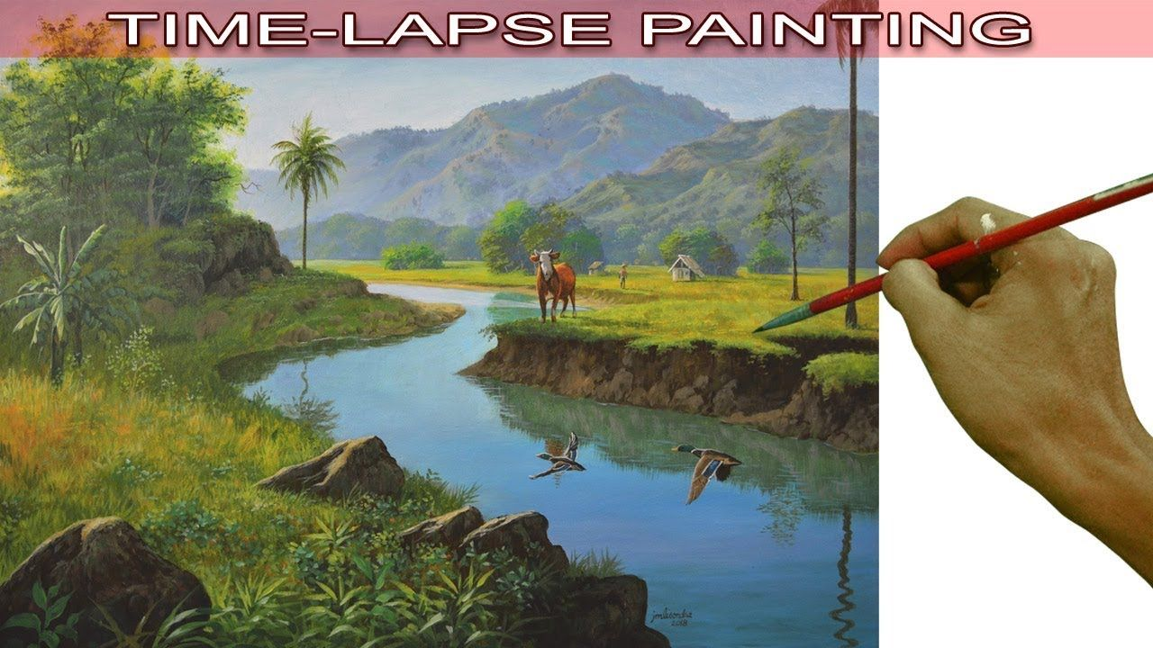 Philippine landscape acrylic painting in time lapse with