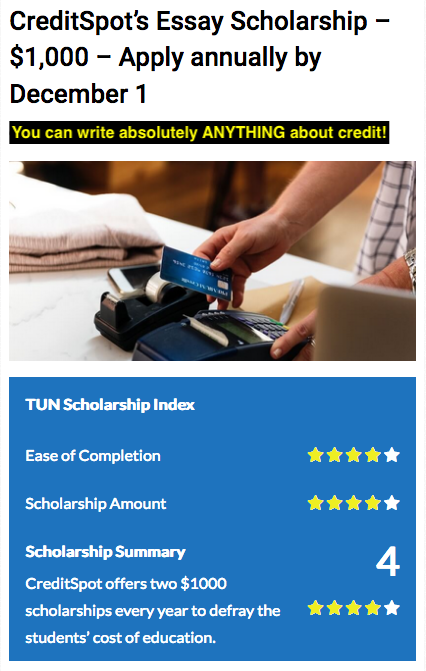 Creditspots Essay Scholarship    Apply Annually By December  If You Are Knowledgeable About Credit Cards Or Any Topic Related To Credit  You Should Apply For This Scholarship English Composition Essay Examples also Assignmenthelp  Example Of English Essay