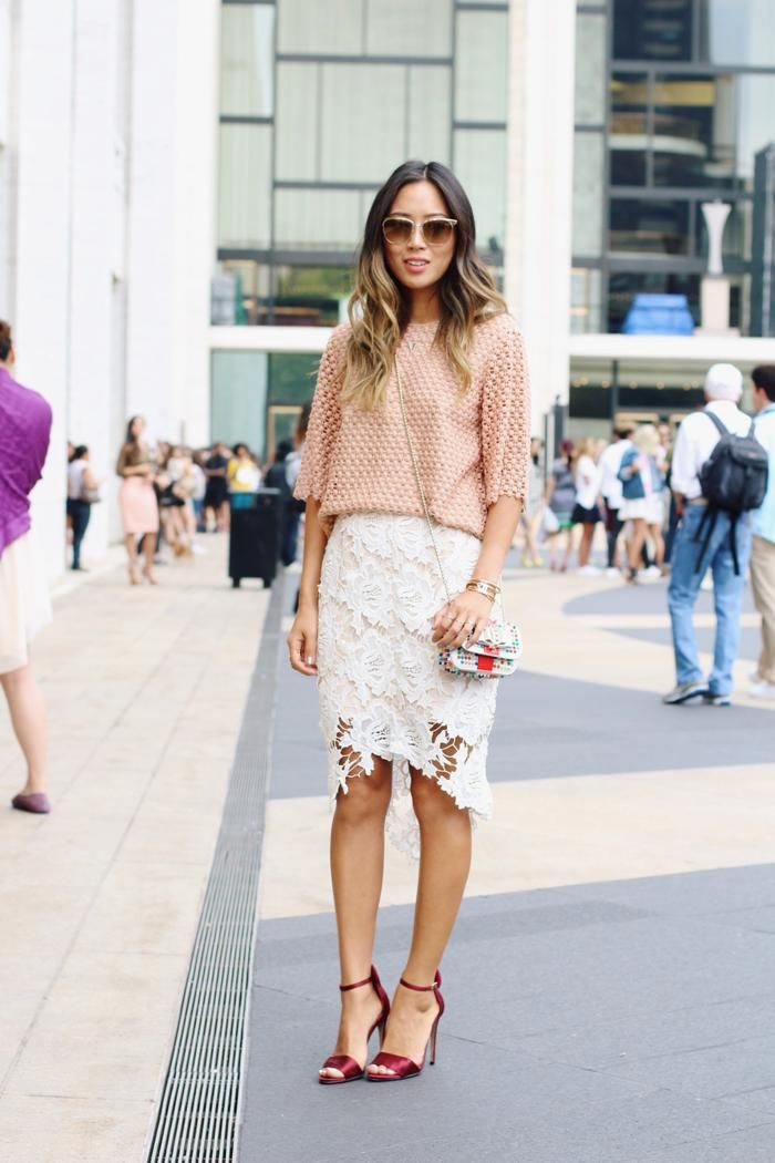 3587191dc9 20 Ways to Make a Lace Skirt Work for Daytime - peach top + white lace pencil  skirt and red satin heels | StyleCaster