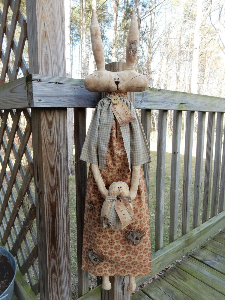 FoLk Art PrimiTive SPRING EasTer Bunny Raggedy GruNgy RABBIT Prim Chick DOLL TaG #PrimitiveLookFOLkArt #MelissaHarmon