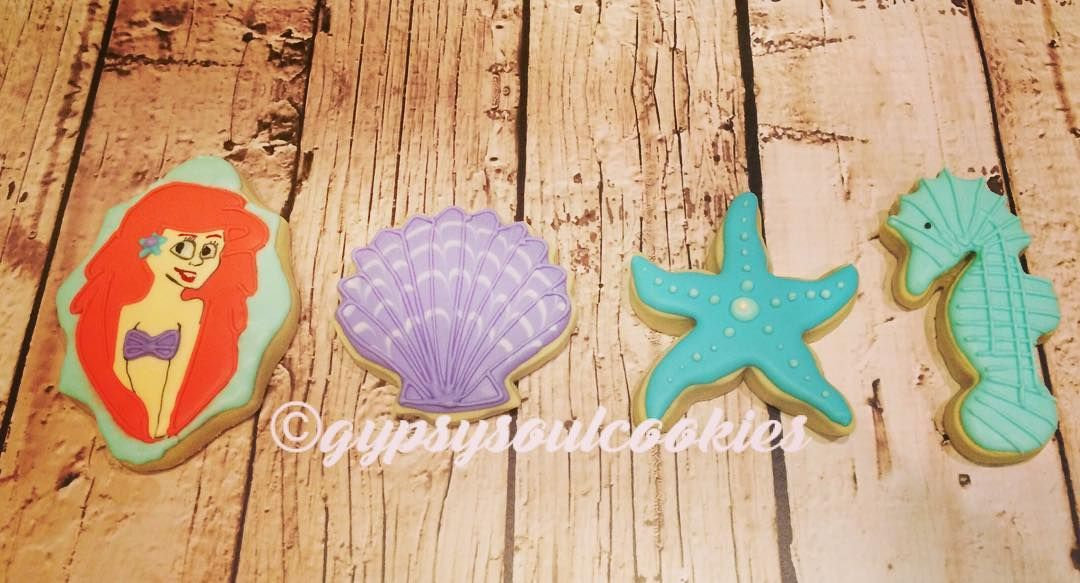 Little Mermaid birthday cookies. gypsy soul cookies. ariel. starfish. clam. seahorse