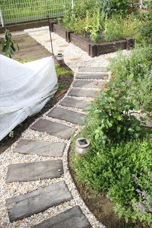 庭の小道の砂利敷き終了 庭の小道 庭 ガーデンプラン