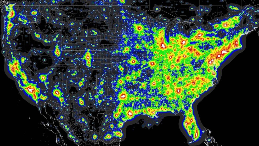 A map of the worst light pollution