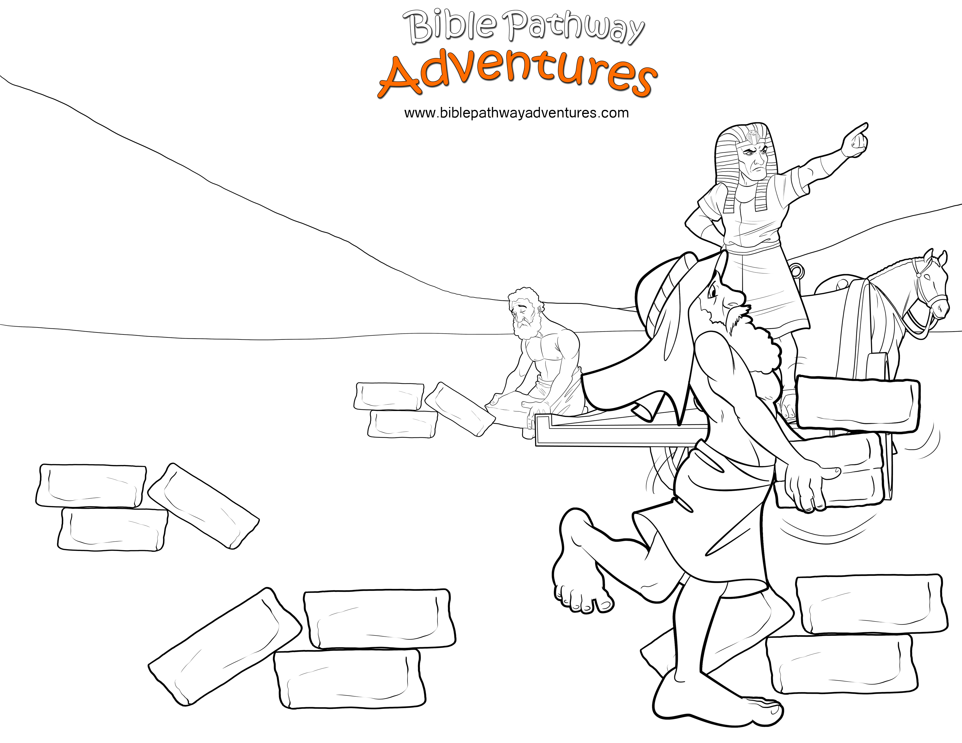 Bible Coloring Page Pharaoh And Hebrew Slaves With