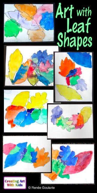 Art Lesson Leaf Shapes Trace And Paint Art Lessons Leaf Shapes