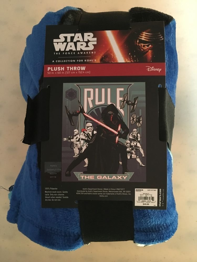 "Star Wars The Force Awakens Plush Throw Kylo Ren & Storm Troopers 50""x60"" NWT #Disney"