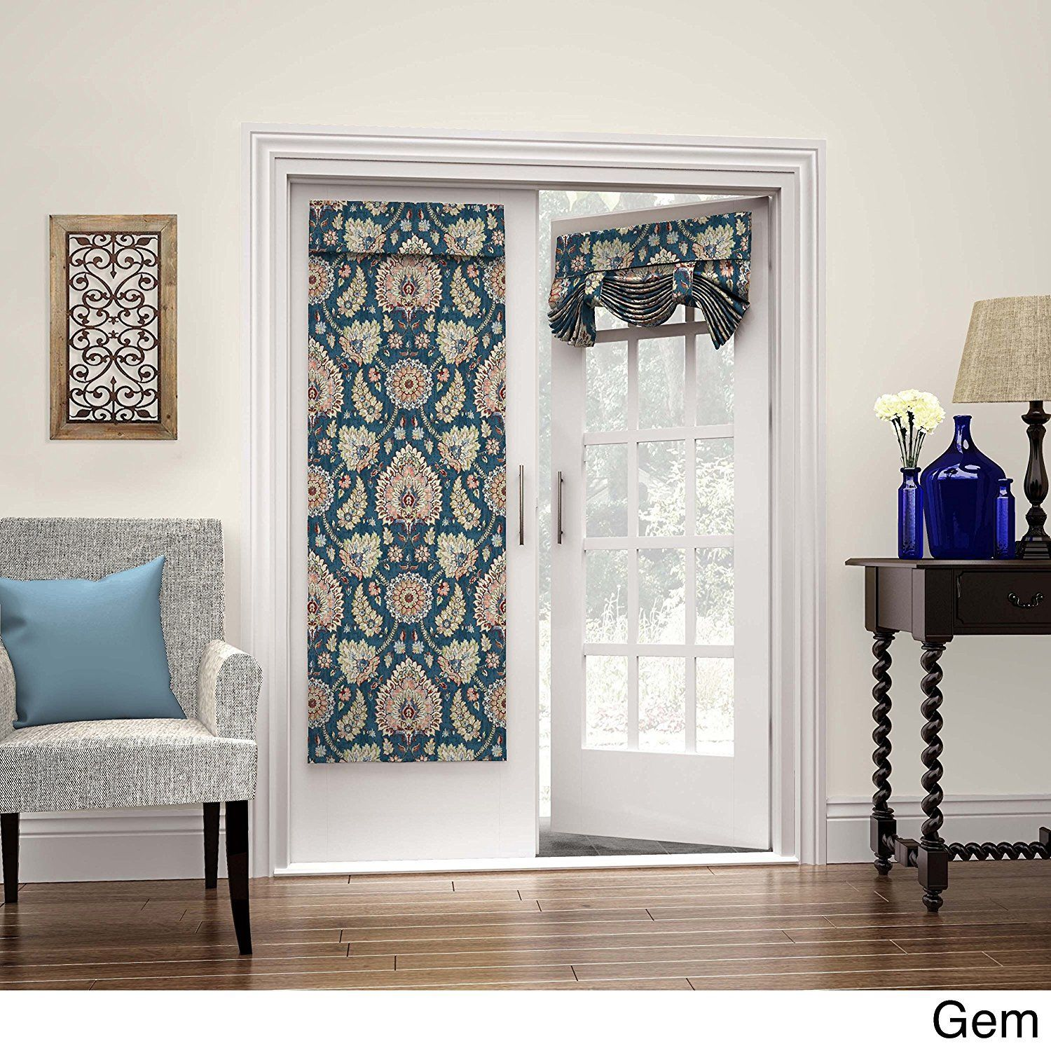 68 Inch Gem Color Medallion Pattern French Door Curtain Single