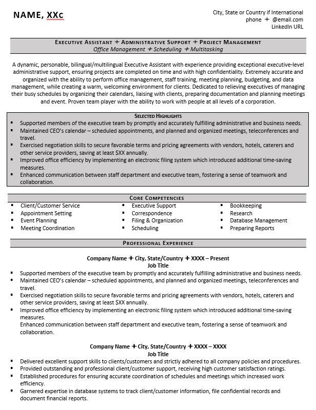 Executive Assistant Resume Example Resumes Pinterest Resume - resume name examples