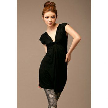Summer Casual Plunging Neck Short Sleeve Cotton Dress For Women, BLACK, ONE SIZE in Casual Dresses | DressLily.com