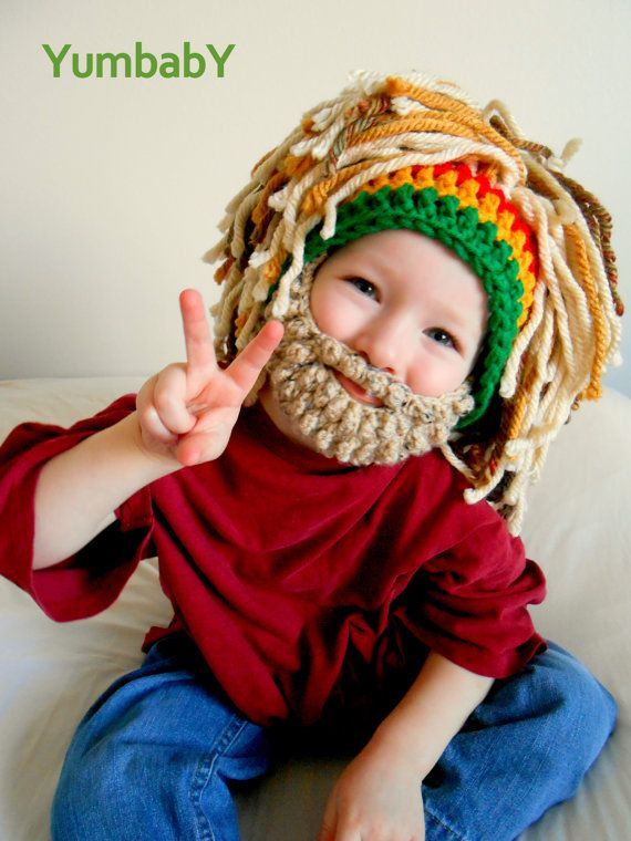 Rasta Hat Bearded Beanie Men\'s Beanie Beard Hat with Rasta Bandana ...