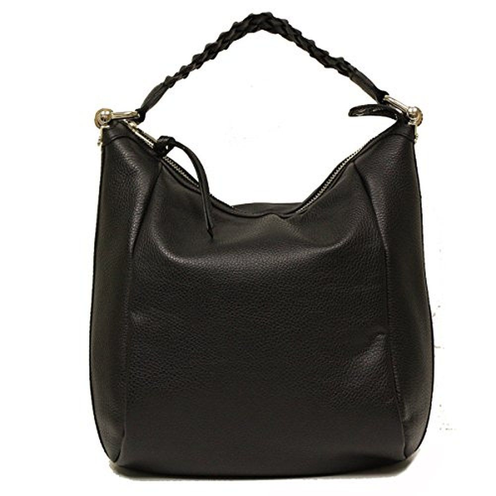 Gucci Black Leather Braided Top Handle Bamboo Hobo Bag 336655 ...