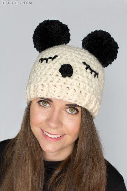 Panda Pompom Hat - Free Crochet Pattern | Häkelmützen, Mütze und Schals