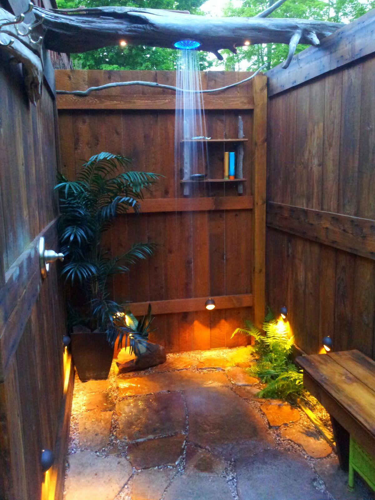 outdoor shower we built reclaimed wood garage doors reclaimed