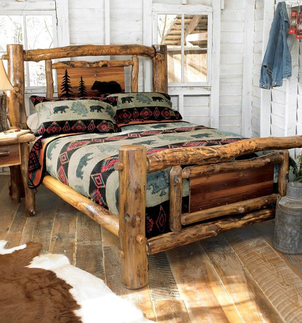 Log Bed Frame With Cutout - Country, Western, Cabin, Rustic Bed ...