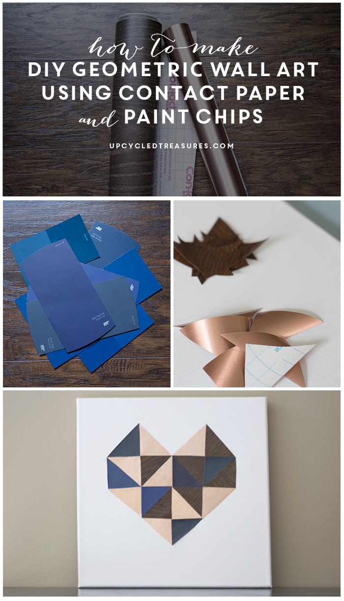 make this super easy wall art using contact paper and paint chips