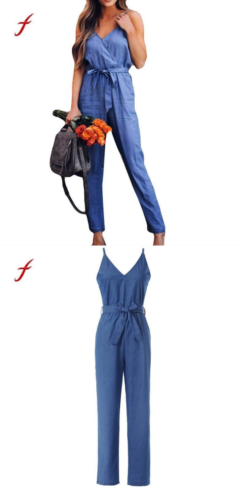 ef078644f07 2018 women camisole denim jumpsuits lady loose playsuit long wide leg  trousers macacao feminino  polyester  jumpsuits  casual  regular  solid   none ...
