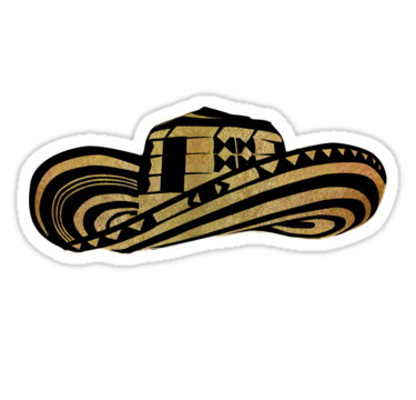 Colombian Sombrero Vueltiao In Gold Leaf And Black Ink Sticker By Diego T Fond D Ecran Telephone Stikers