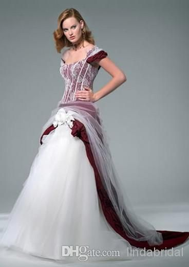 Plus Size Wedding Dress A Line Burgundy White Tulle Cap Sleeves Color Accent Bridal
