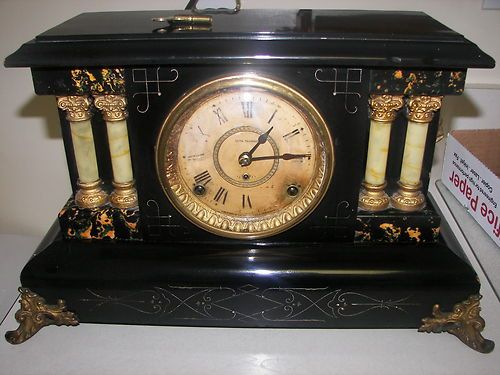 Antique Seth Thomas Early 1900 S Wood Mantel Clock Side Lion Heads