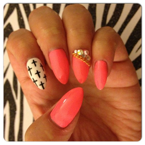 Pink With Black And White Cross Design Stiletto Press On Nails With