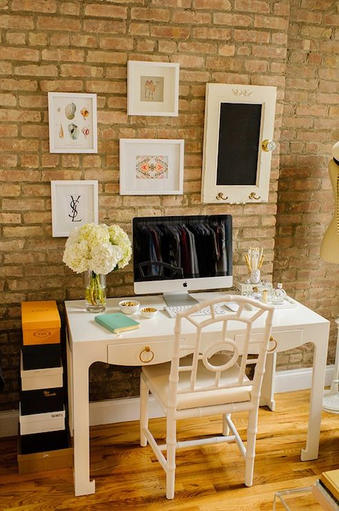 With Love From Kat - dens/libraries/offices - Bungalow 5 Jacqui Desk, Mint Embossed Python Leather Notebook, Bungalow 5 Chloe Chair, white d...