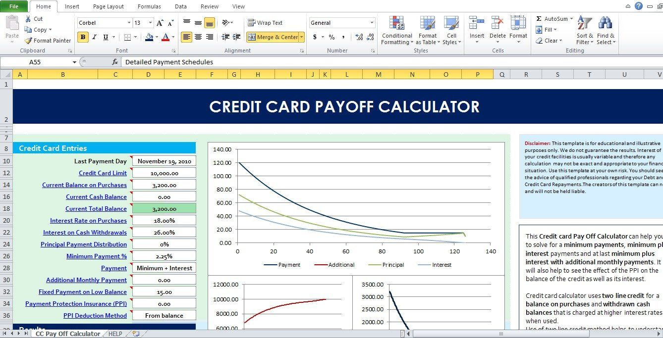 Credit Card Payoff Template Best Of Credit Card Payoff Calculator Excel Template Excel Tmp Paying Off Credit Cards Credit Card Statement Credit Card Interest