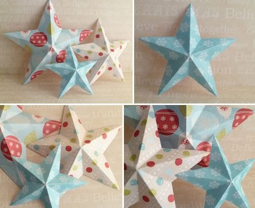 Making christmas decorations 3d paper stars templates for How to make 3d paper stars easy