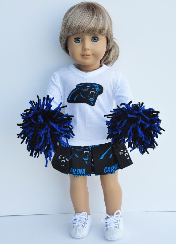 American Made Doll Clothes - Carolina Panthers Cheerleader Outfit by LoriLizGirlsandDolls on Etsy https://www.etsy.com/listing/175088688/american-made-doll-clothes-carolina
