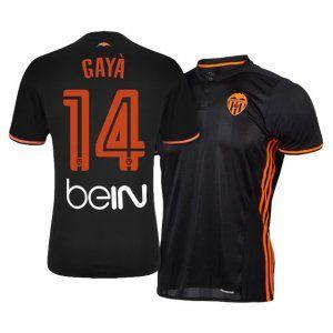 Valencia C.F Away 16-17 Season Black #14 Gaya Soccer Jersey [I645 ...