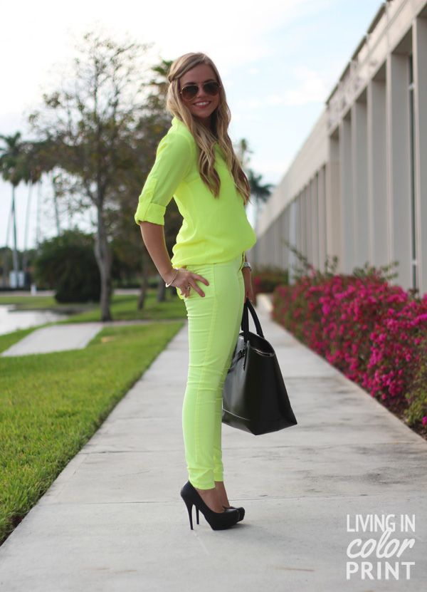 Styling Spring Denim: Neon // Living In Color Print. A bit too young for me, but cute!