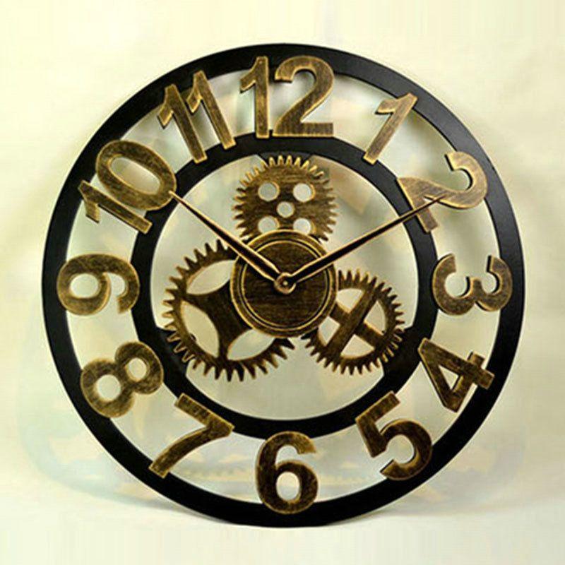 Hollow Vintage Wall Clock Non Ticking Gear Wall Clock A B C D Options Vintage Wall Clock Gear Wall Clock Wall Clock