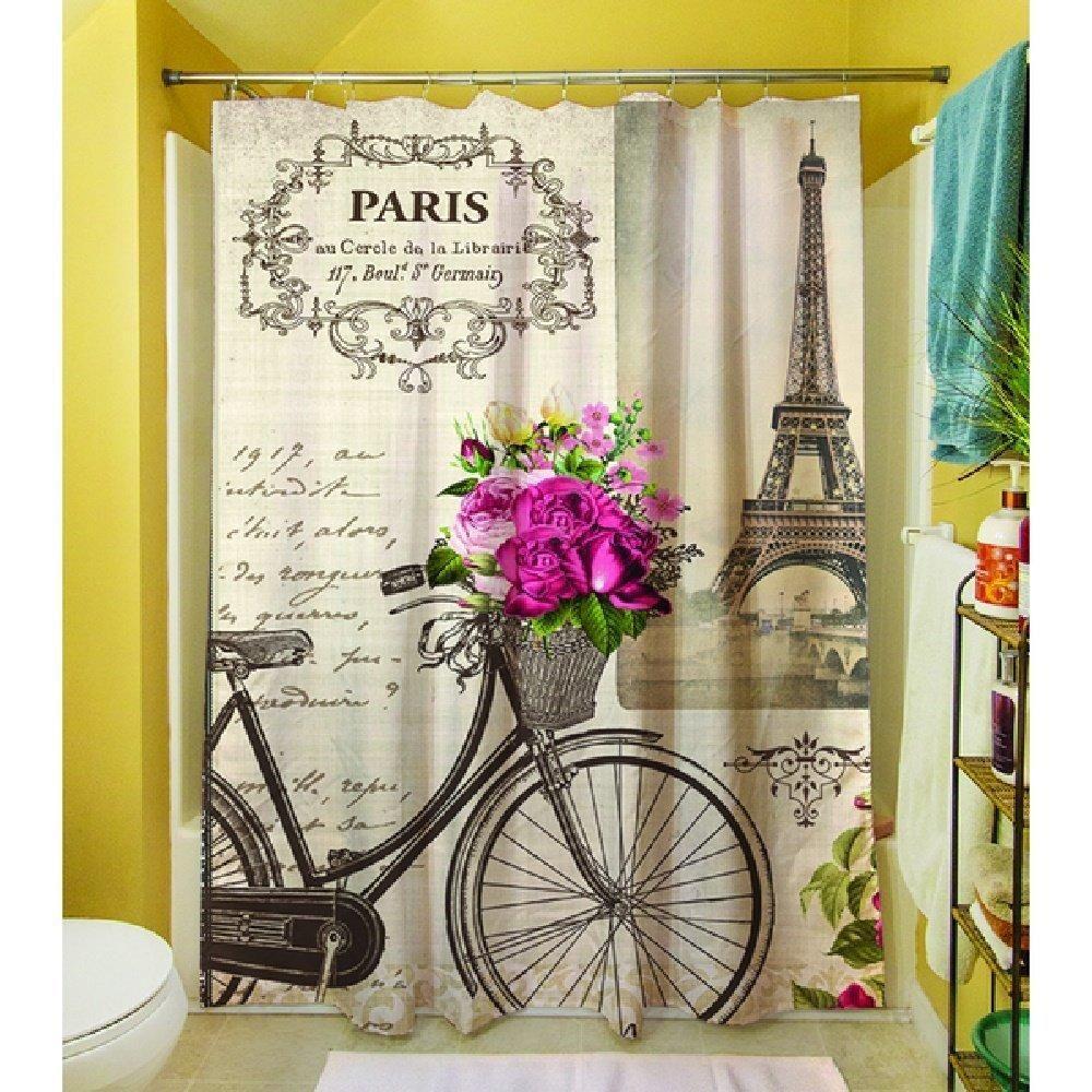 Springtime Paris Bicycle Themed Shower Curtain Eiffel Tower Paris