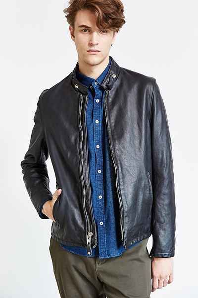 Schott Beatdown Cafe Leather Racer Jacket - Urban Outfitters