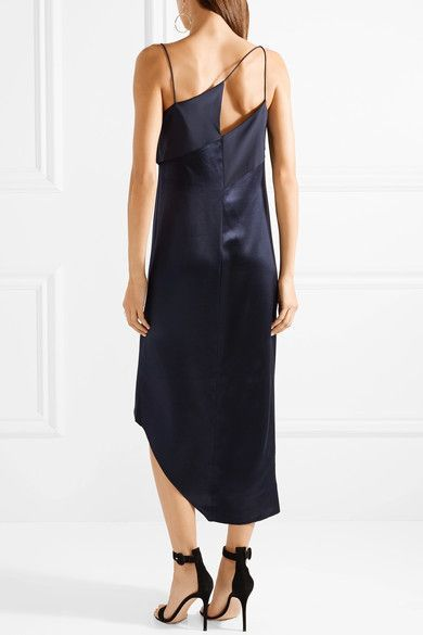 Cheap Discount Sale Asymmetric Crepe-paneled Silk-satin Midi Dress - Midnight blue Dion Lee Extremely For Sale Clearance Extremely voMbbBw