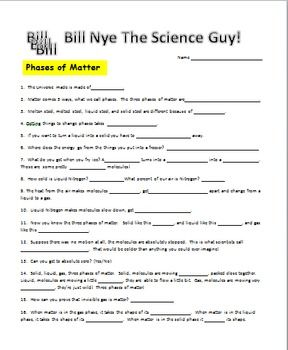 Bill Nye Phases Of Matter Video Worksheet With Images Bill Nye