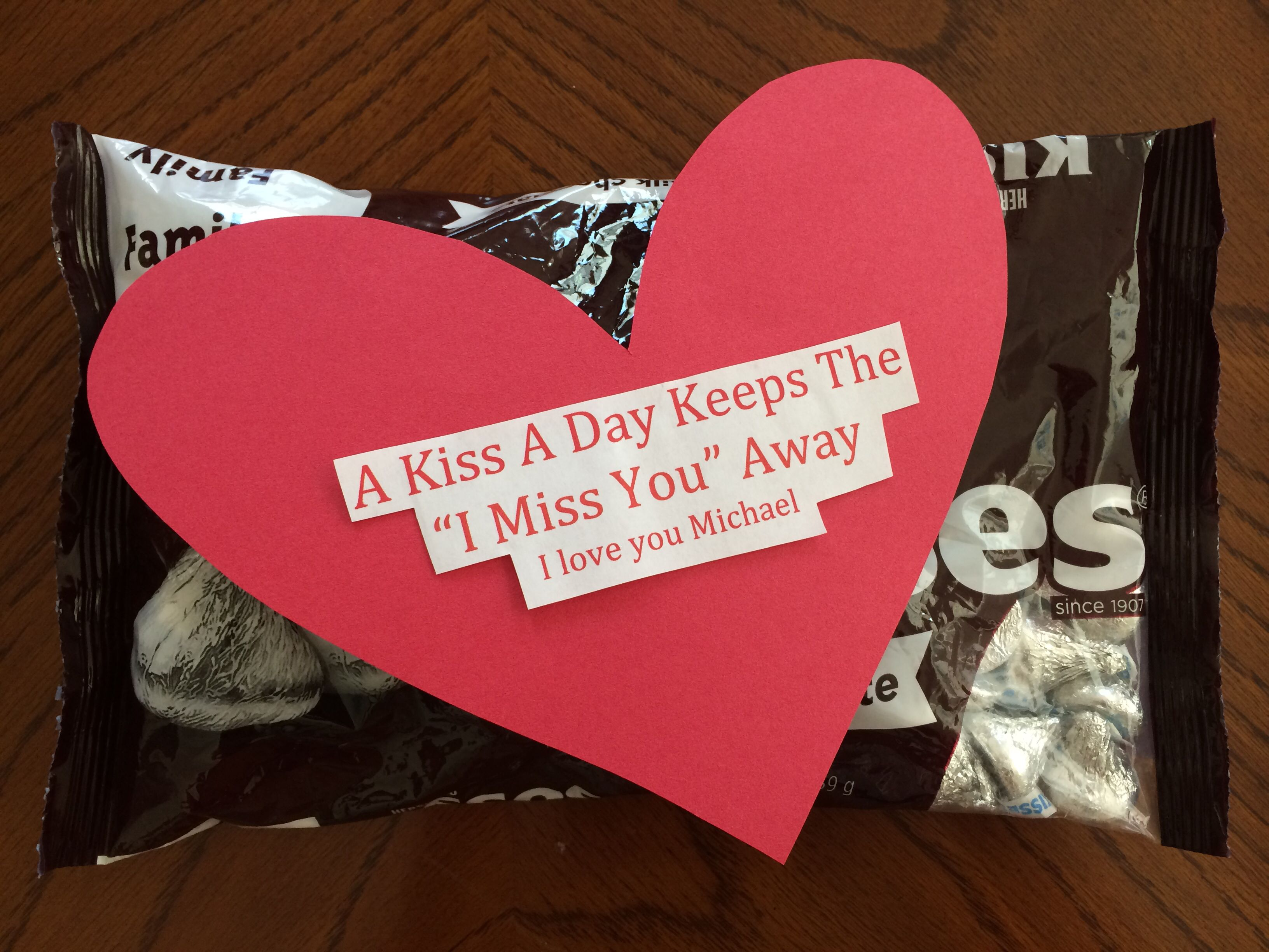 "DIY boyfriend t ""A kiss a day keeps the I miss you away"