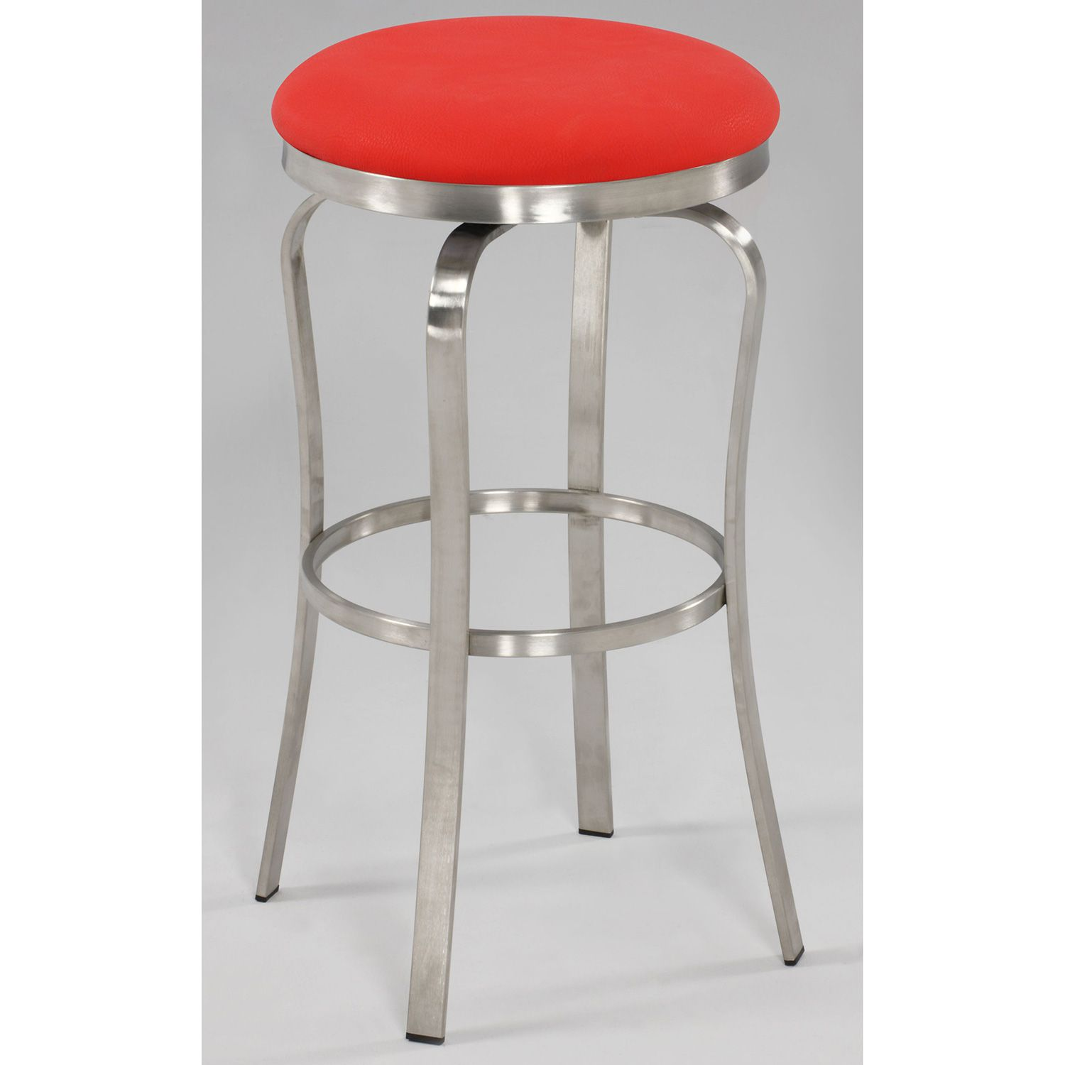 Miraculous Chintaly Modern Backless Bar Stool Red Leatherette Brushed Machost Co Dining Chair Design Ideas Machostcouk