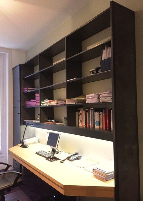 bureau sur mesure ch ne bois contemporain r alisation de bureau sur mesure en ch ne avec. Black Bedroom Furniture Sets. Home Design Ideas